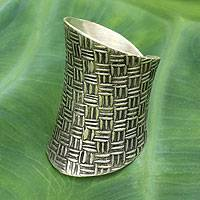 Sterling silver wrap ring, 'Woven Touch'