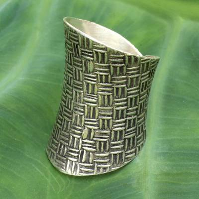 Sterling silver wrap ring, 'Woven Touch' - Modern Sterling Silver Wrap Ring from Thailand