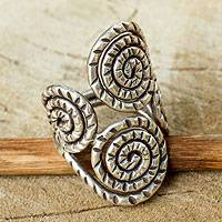 Sterling silver wrap ring, 'Spiral of Love' - Bohemian Style Sterling Silver Ring