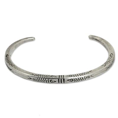 Bracelet, 'Hill Tribe Fish' - Fish Motif Squared Sterling Cuff