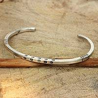Bracelet, 'Hill Tribe Wildflowers' - Wildflower Motif Squared Sterling Cuff