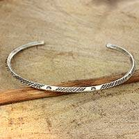 Sterling silver cuff bracelet, 'Karen Legacy' - Sterling Silver Hill Tribe Cuff