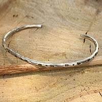 Bracelet, 'Karen Creativity' - Hill Tribe Sterling Cuff