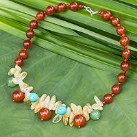 Gemstone beaded necklace, 'Sun Dance' - Handmade Carnelian Necklace with Citrine