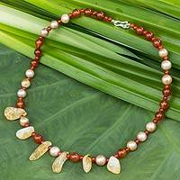 Cultured pearl and carnelian beaded necklace, 'Honey' - Carnelian Necklace with Citrine and Cultured Pearls