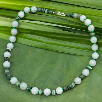 Jade beaded necklace, 'Fresh Beauty' - Handmade Green Jade Necklace
