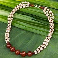 Cultured pearl and carnelian beaded necklace, 'Luscious Beauty' - Cultured Pearl Necklace with Garnet and Carnelian
