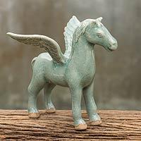 Celadon ceramic figurine, 'Jade Pegasus' - Precious Miniature Winged Pegasus Statue