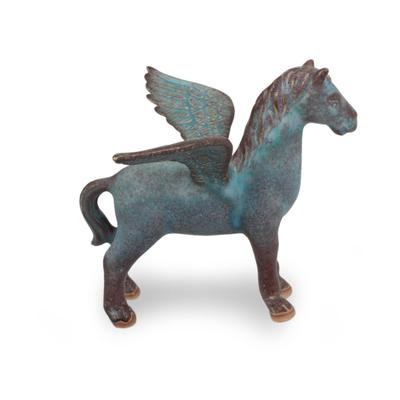 Antiqued Green Celadon Winged Horse Figurine
