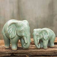 Celadon ceramic statuettes, 'Lovely Family in Light Green' (pair) - Elephant Celadon Ceramic Sculptures (pair)