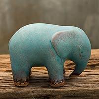 Celadon ceramic figurine, 'Turquoise Elephant'