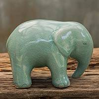 Celadon ceramic figurine, 'Emerald Elephant' - Green Celadon Ceramic Figurine