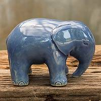 Celadon ceramic figurine, 'Sapphire Elephant' - Blue Celadon Elephant Figurine