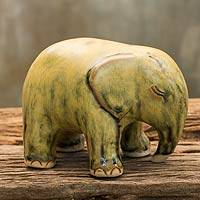 Celadon ceramic figurine, 'Yellow Elephant' - Mottled Yellow Celadon Ceramic Figurine