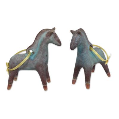 Antiqued Celadon Ceramic Christmas Ornaments (Pair)