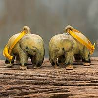 Celadon ceramic ornaments, 'Yellow Elephant' (pair) - Mottled Yellow Celadon Ceramic Ornaments (Pair)