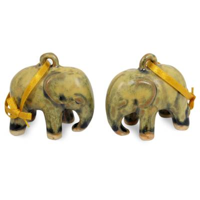 Celadon ceramic ornaments, 'Yellow Elephant' (pair) - Mottled Yellow Celadon Ceramic Ornaments (Pair)