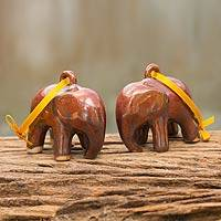 Celadon ceramic ornaments, 'Brown Elephant' (pair) - Mottled Brown Celadon Ceramic Ornaments (Pair)