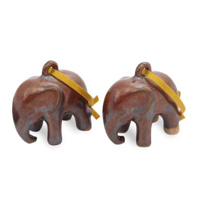 Celadon ceramic ornaments, 'Brown Elephant' (pair) - Mottled Brown Celadon Ceramic Ornaments (Pair)