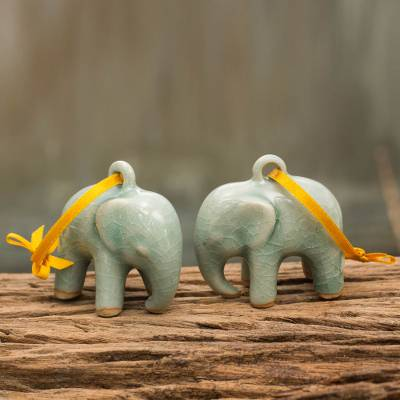 Celadon ceramic ornaments, 'Light Blue Elephant' (pair) - Crackled Green Celadon Ceramic Ornaments (Pair)