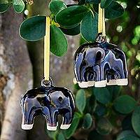 Celadon ceramic ornaments, 'Dark Elephant' (pair) - Mottled Blue-Brown Celadon Ceramic Ornaments (Pair)