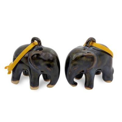Celadon ceramic ornaments, 'Dark Elephant' (pair) - Mottled Blue-Brown Celadon Ceramic Ornaments (Pair)