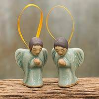 Celadon ceramic ornaments, 'Angels at Prayer' (pair)
