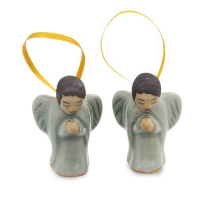 Celadon ceramic ornaments, 'Angels at Prayer' (pair) - Two Handcrafted Thai Celadon Ceramic Angel Ornaments