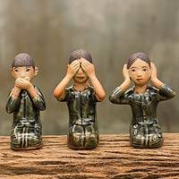 Celadon ceramic figurines, 'No Evil' (set of 3) - Celadon Ceramic Figurines (Set of 3)