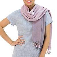 Cotton reversible scarf, 'Grey Pink Duet'