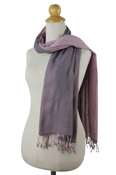 Cotton reversible scarf, 'Grey Pink Duet' - Hand-woven 2-in-1 Cotton Reversible Scarf