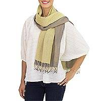 Cotton reversible scarf, 'Grey Yellow Duet'