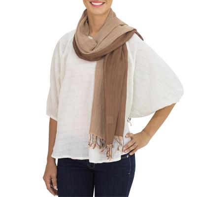 Cotton reversible scarf, 'Brown Beige Duet' - Hand-woven 2-in-1 Cotton Reversible Scarf