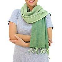 Cotton reversible scarf, 'Jade Green Duet'