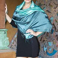 Featured review for Silk shawl, Shimmering Green
