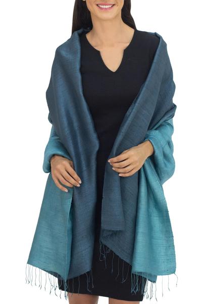 Silk shawl, 'Shimmering Green' - Artisan Crafted Silk Shawl