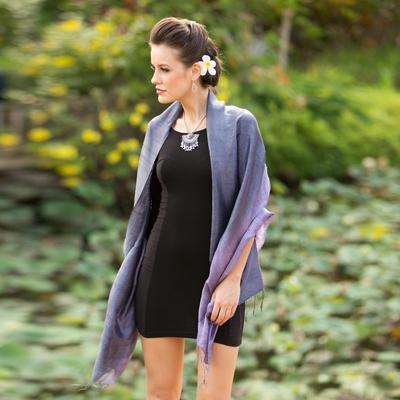 Silk shawl, 'Shimmering Purple' - Handwoven Raw Silk Shawl