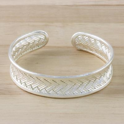 Sterling silver cuff bracelet, 'Slender Rattan' - Woven Silver Cuff