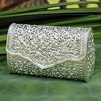 Sterling silver plated clutch handbag, 'Jasmine' - Handcrafted Jasmine Forest Sterling Silver Clutch Purse