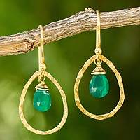 Gold plated dangle earrings, 'Green Minimalism' - Thai Gold Plated Handcrafted Earrings with Green Onyx