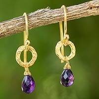 Gold plated amethyst dangle earrings, 'Lilac Suns'