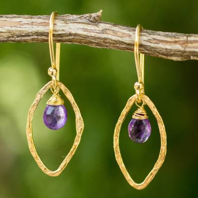 Gold plated amethyst dangle earrings, 'Swinging Ellipses' - Gold Plated Handcrafted Earrings with Amethyst