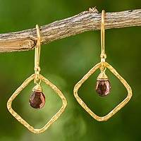 Gold plated garnet dangle earrings, 'Swinging Rhombus' - Artisan Crafted Gold Plated Garnet Earrings from Thailand