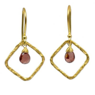 Artisan Crafted Gold Plated Garnet Earrings from Thailand