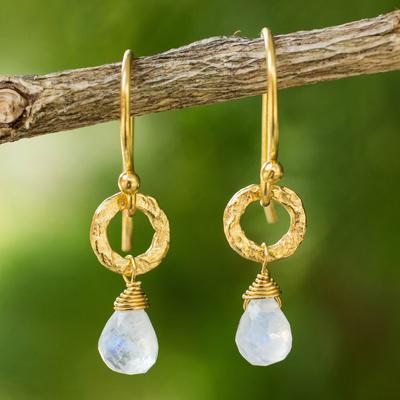 Gold plated moonstone dangle earrings, 'Dewy Suns' - Fair Trade Gold Plated Earrings with Moonstone