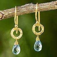 Gold plated blue topaz dangle earrings, 'Aqua Suns'