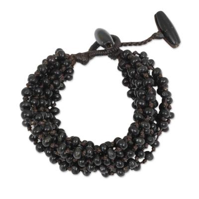 Black Hand Knotted Beaded Bracelet