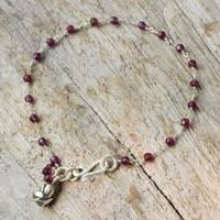 Garnet flower bracelet, 'Red Rose Horizon' - Handcrafted Sterling Silver and Garnet Bracelet