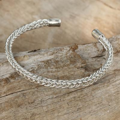Sterling silver cuff bracelet, 'Woven Wheat' - Thai Braided Sterling Cuff Bracelet