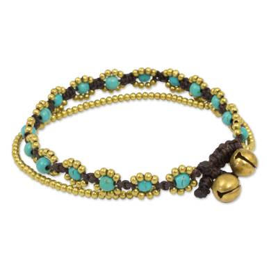 Calcite beaded bracelet, 'Serene Sky' - Hand Knotted Beaded Bracelet with Calcite and Brass Bells